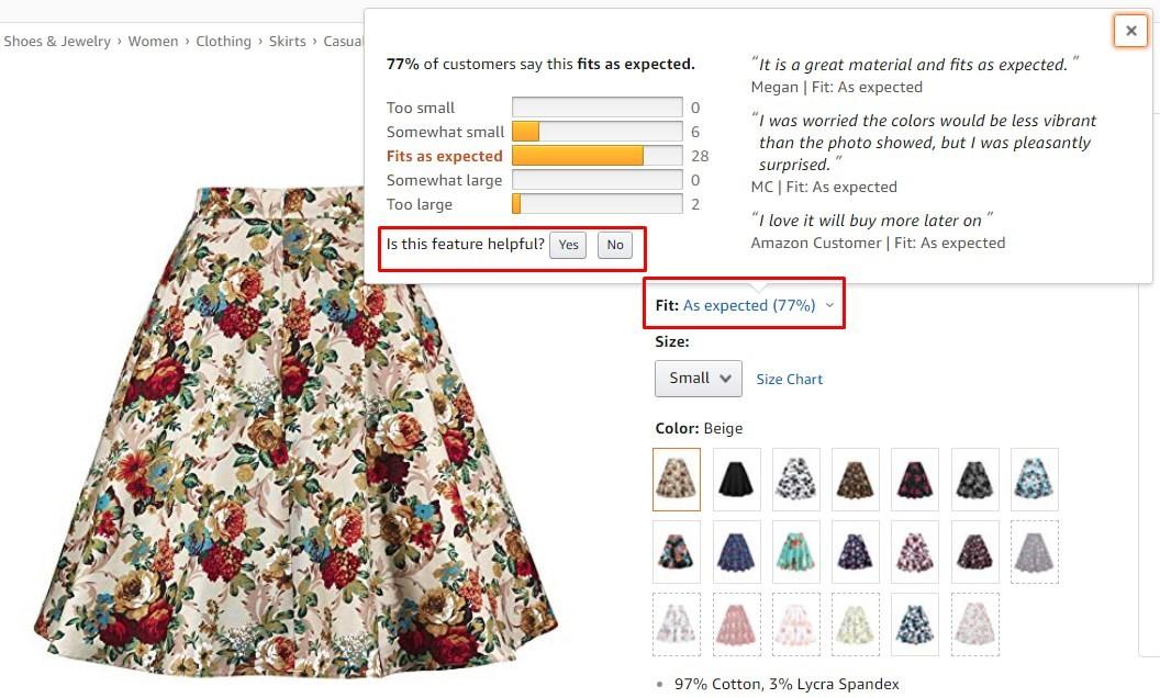Ejemplo de captura de pantalla que muestra las preferencias del comprador por los productos