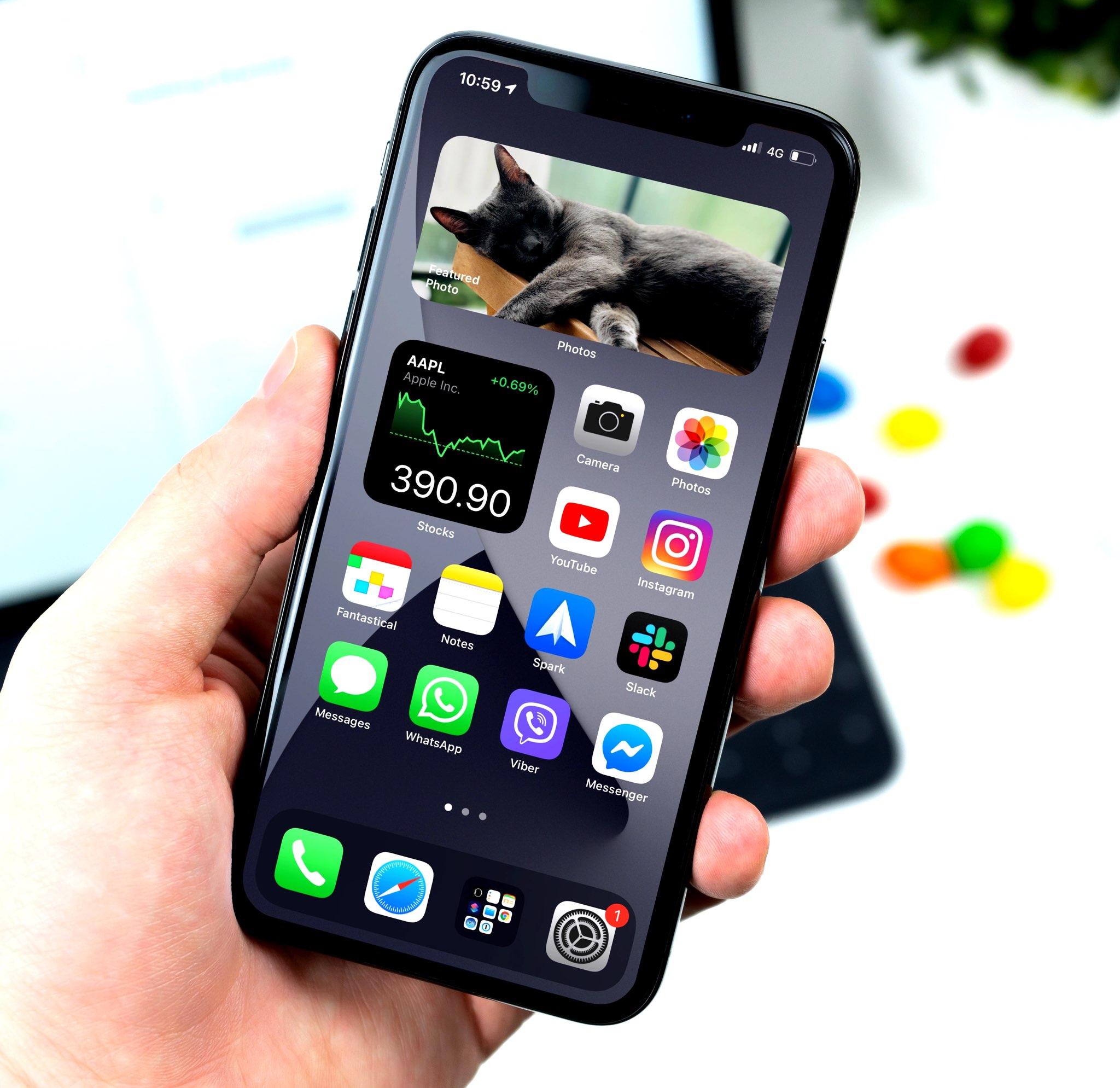 Widgets de celulares inteligentes en iPhone: otro ejemplo de la pantalla de inicio
