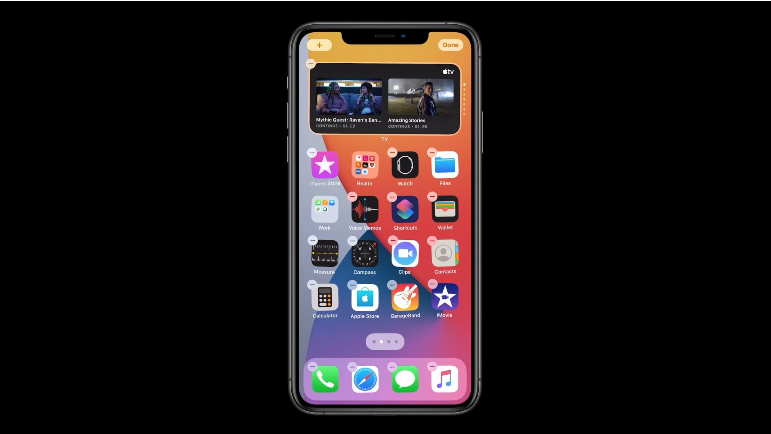 Widgets de pila inteligente en iPhone: pantalla de inicio de muestra