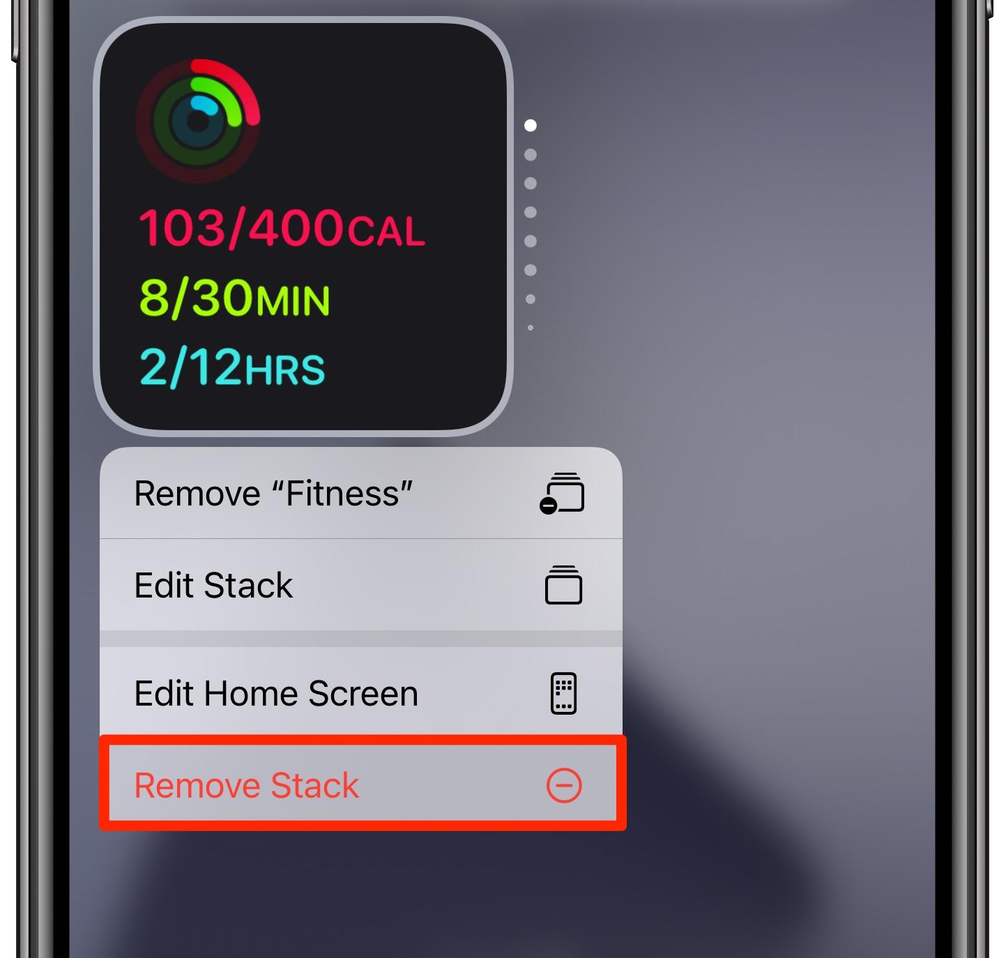 Widgets Smart Stack en iPhone - Eliminar Smart Stack