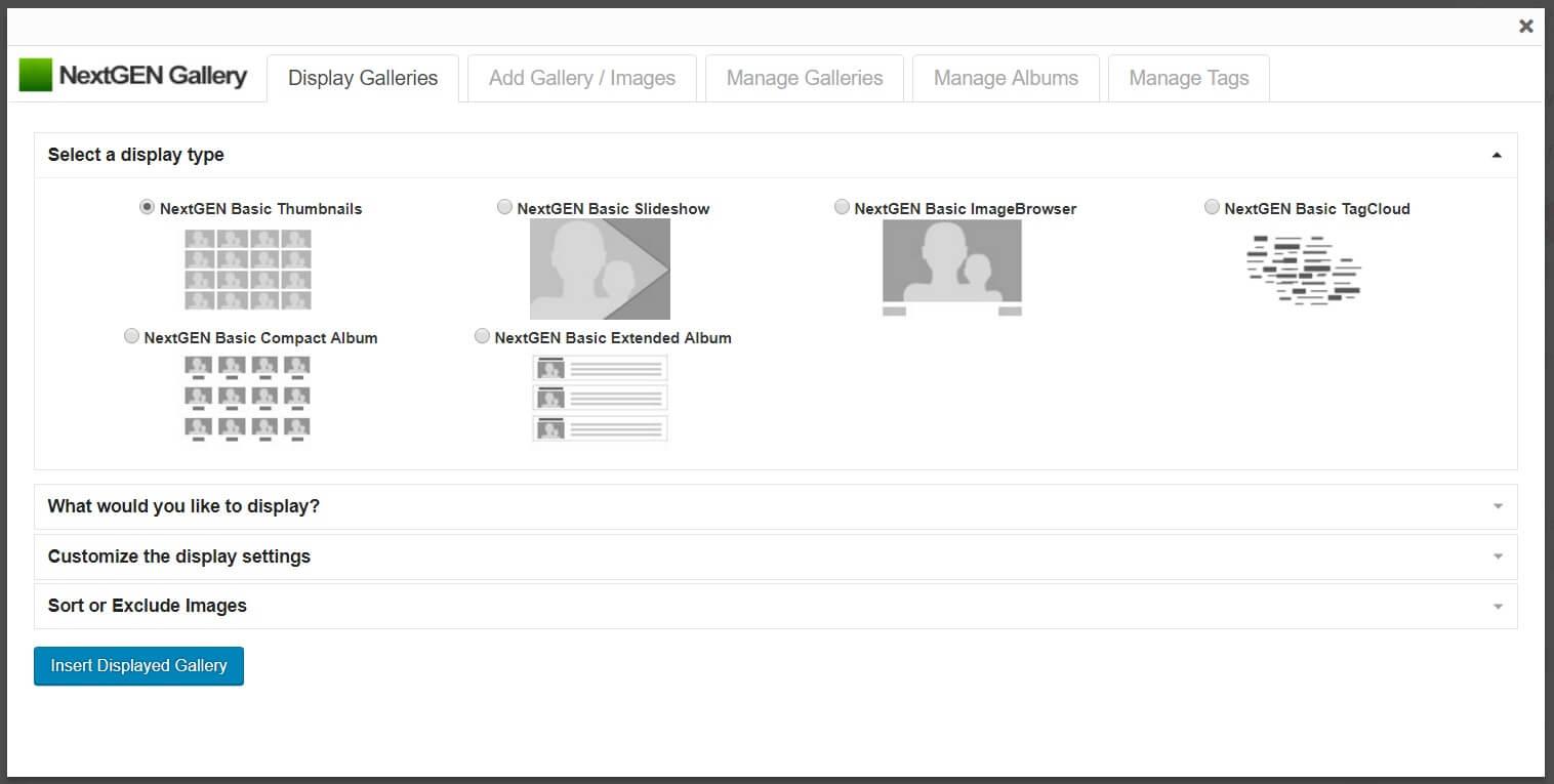 Selección del tipo de pantalla en la galería NextGEN
