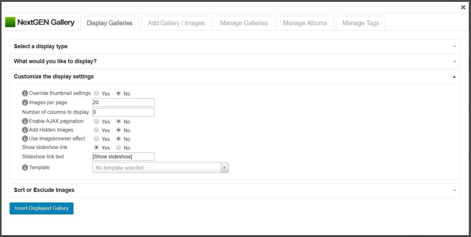 Personalice la configuración de visualización de la galería en NextGEN Gallery