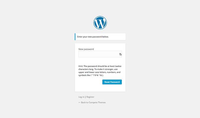 captura de pantalla de la página de registro de contraseña de wordpress
