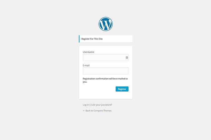 captura de pantalla de la página de registro de wordpress