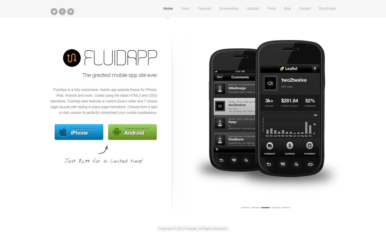 FluidApp - Mejor tema de WordPress para aplicaciones móviles premium