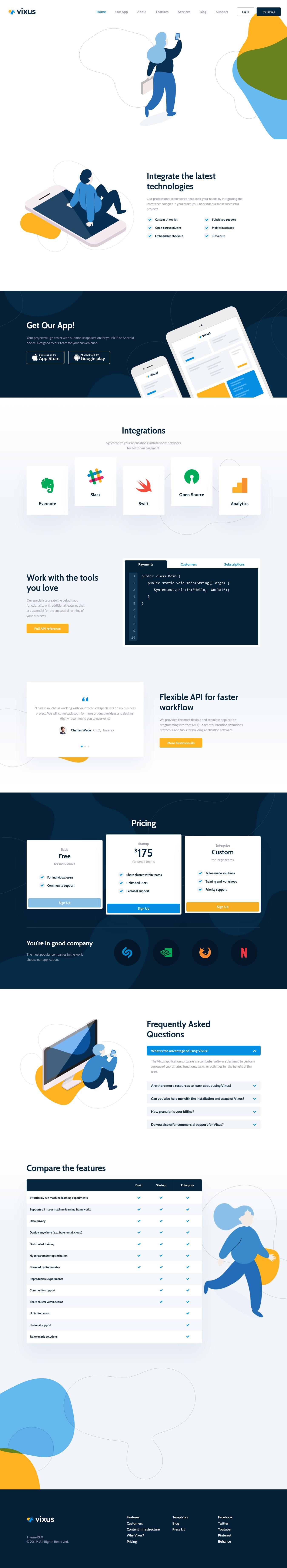 Vixus - Mejor tema de WordPress para aplicaciones móviles premium