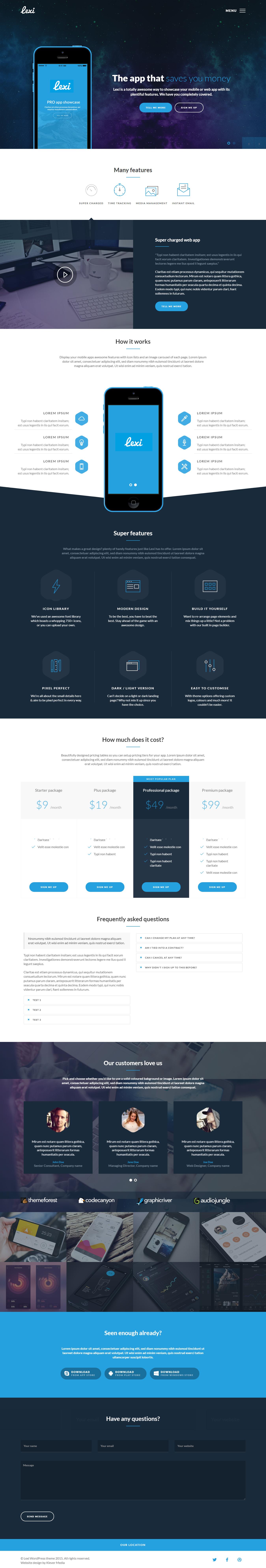 Lexi - Mejor tema de WordPress para aplicaciones móviles premium