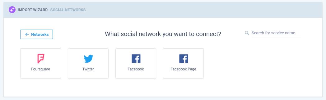 Captura de pantalla de la conexión a las redes sociales en Nimble