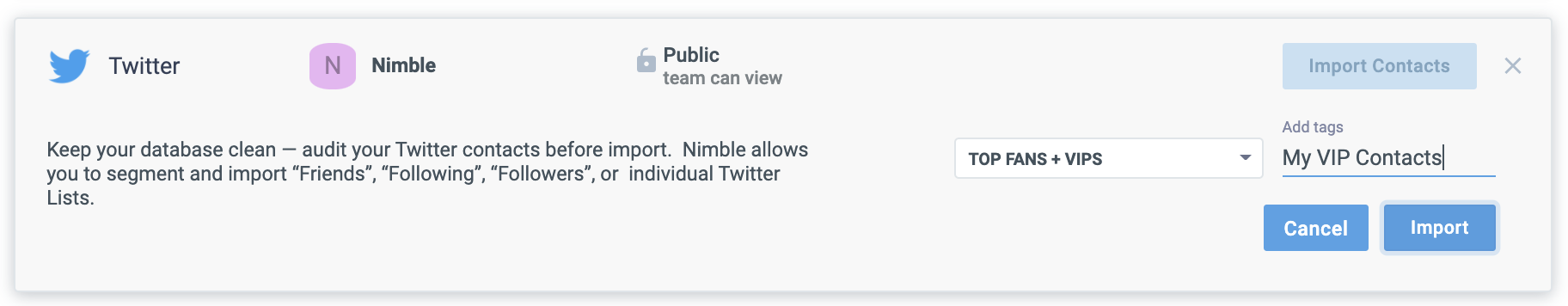 Twitter  captura de pantalla de importación de contactos