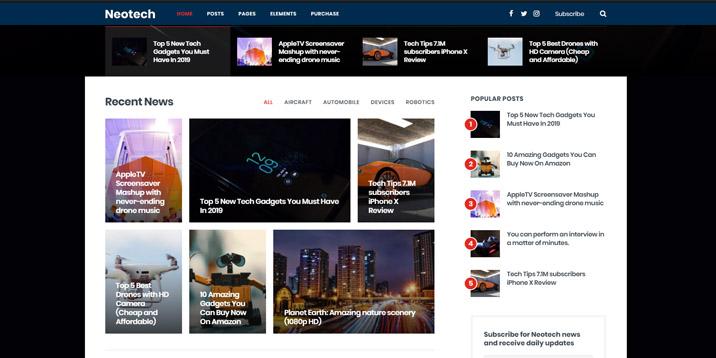 NEOtech es un tema de WordPress para revisar sitios web, está disponible en Themeforest.com