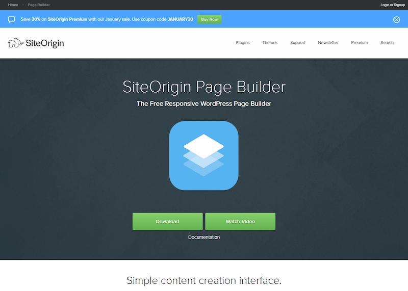 Constructores de páginas de arrastrar y soltar de Siteorigin