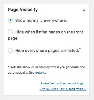 Metabox de visibilidad de página