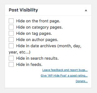 Captura de pantalla de la configuración de visibilidad de la publicación