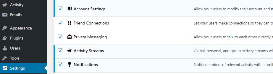 Configuración de BuddyPress