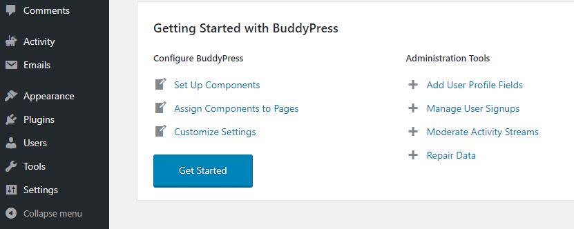 Pantalla de bienvenida de BuddyPress