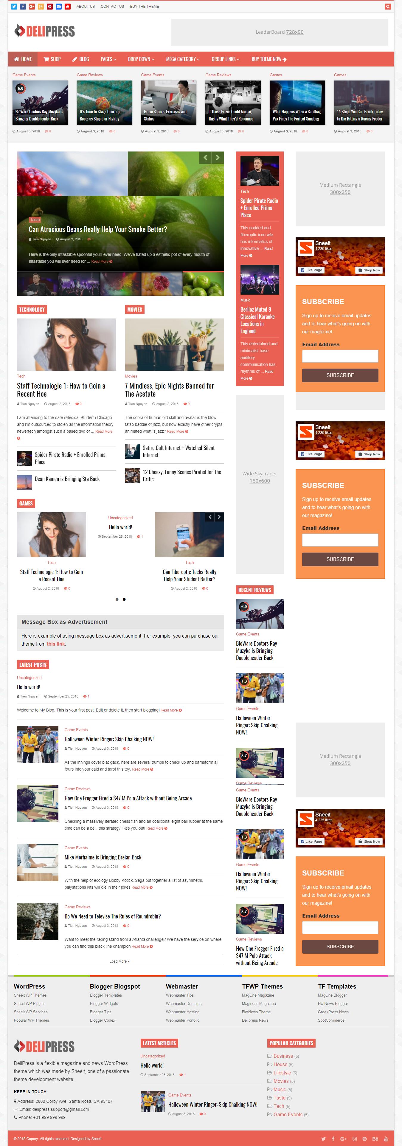 Delipress - Mejor tema de WordPress de revisión premium