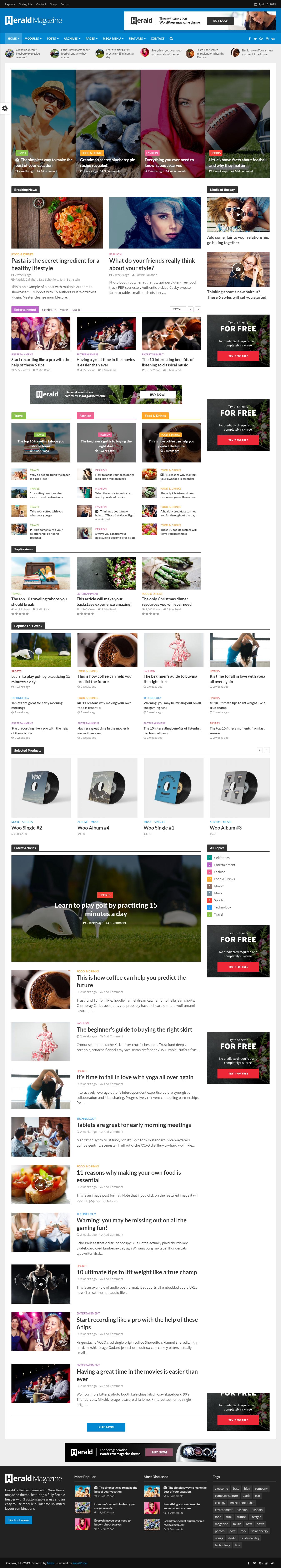 Herald - Mejor tema de WordPress de revisión premium