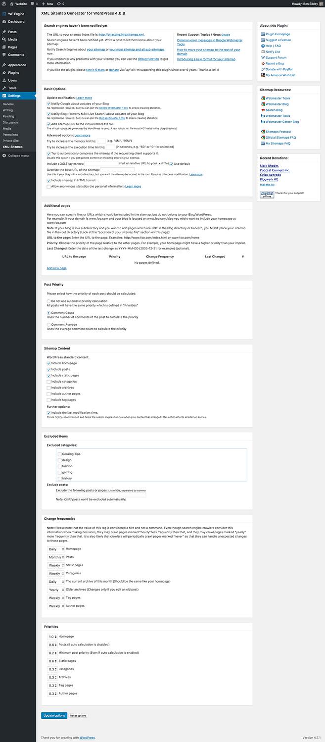 Menú de configuración de Google XML Sitemaps