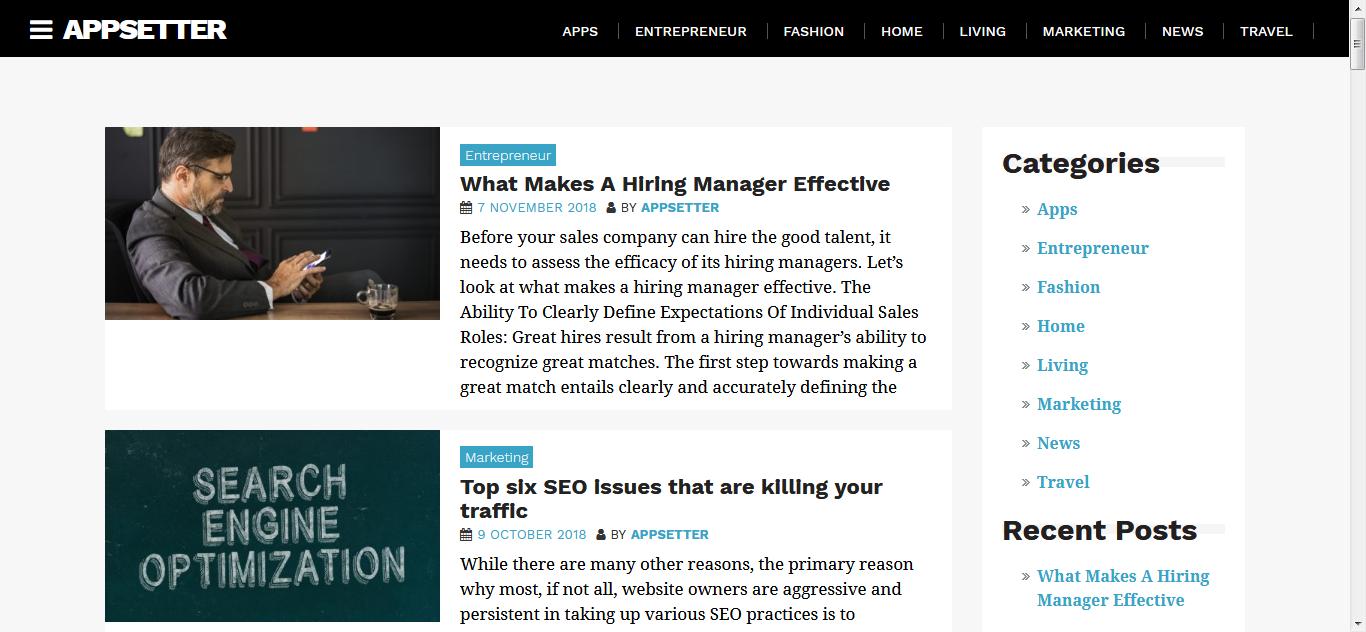 AppSetter: el mejor tema gratuito de WordPress para aplicaciones móviles