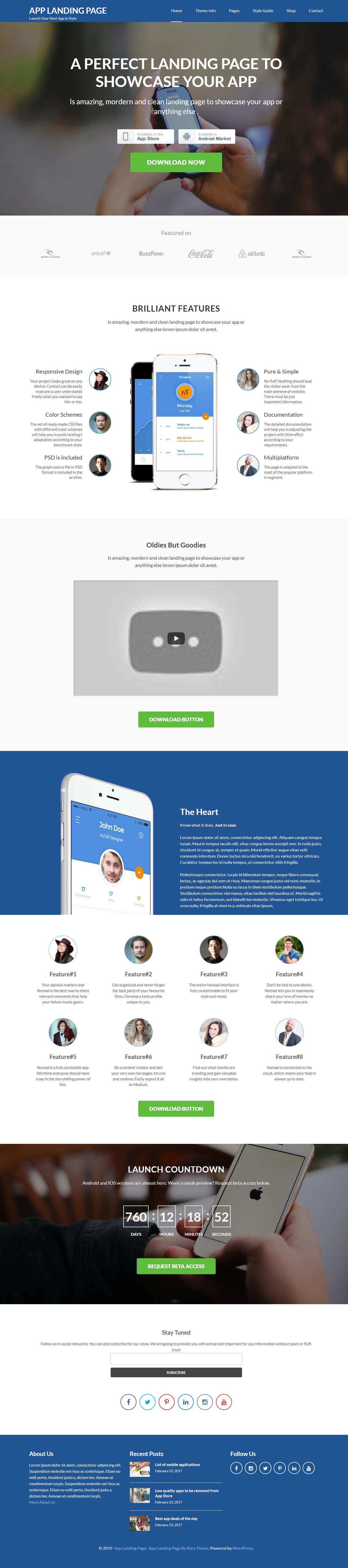 Página de inicio de la aplicación: el mejor tema gratuito de WordPress para aplicaciones móviles