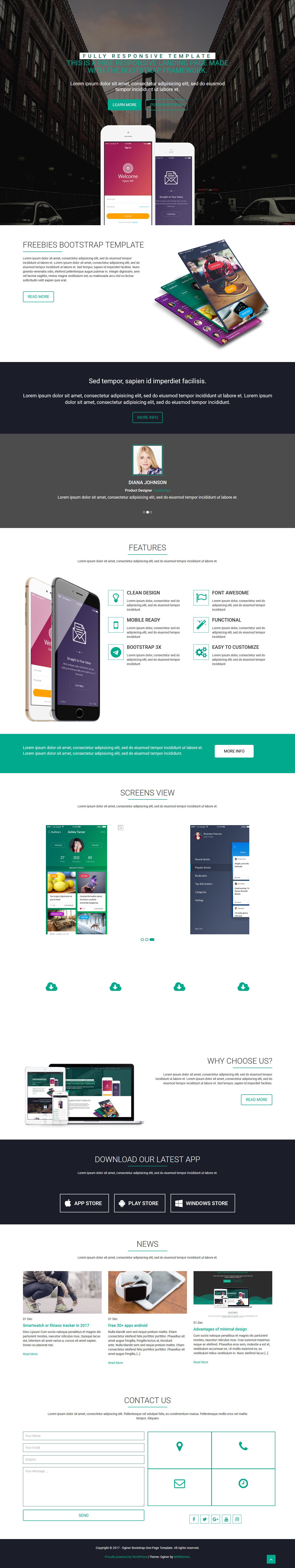 Oginer: el mejor tema gratuito de WordPress para aplicaciones móviles