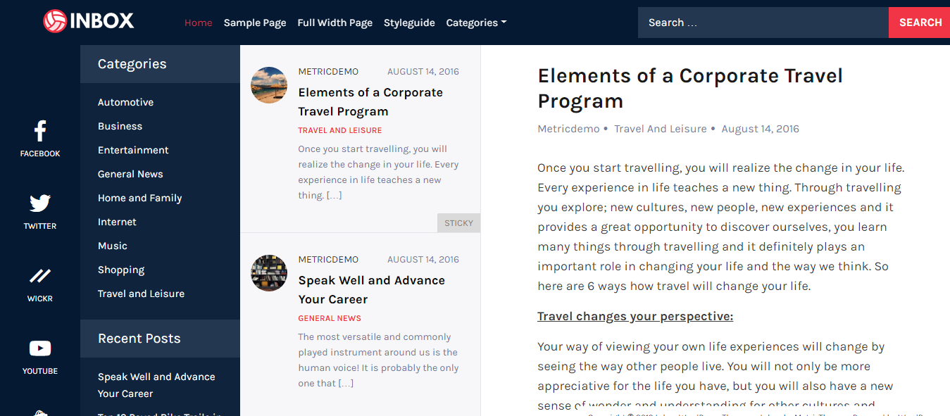 Bandeja de entrada: el mejor tema gratuito de WordPress para aplicaciones móviles