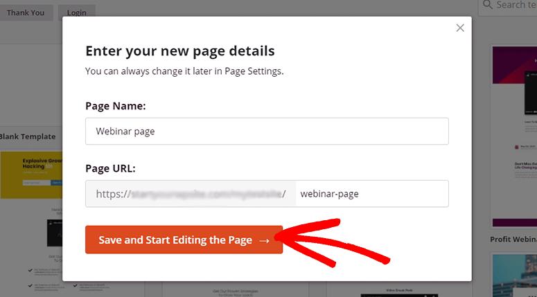 Ingrese el nombre de la página