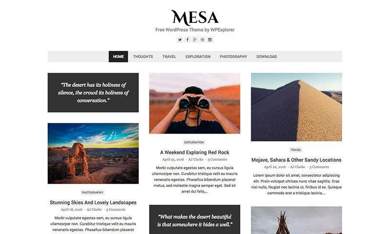 Tema WordPress gratuito de Mesa