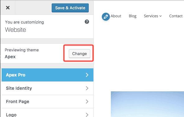 botón para cambiar temas en el Personalizador