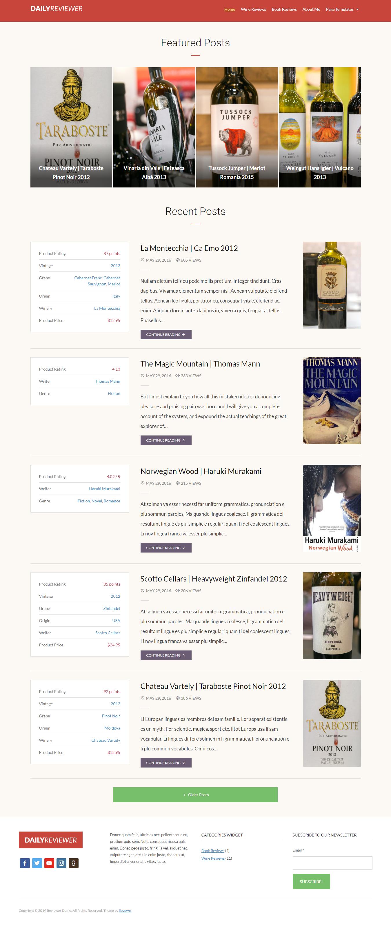 Revisor - Mejor tema de WordPress de revisión gratuita