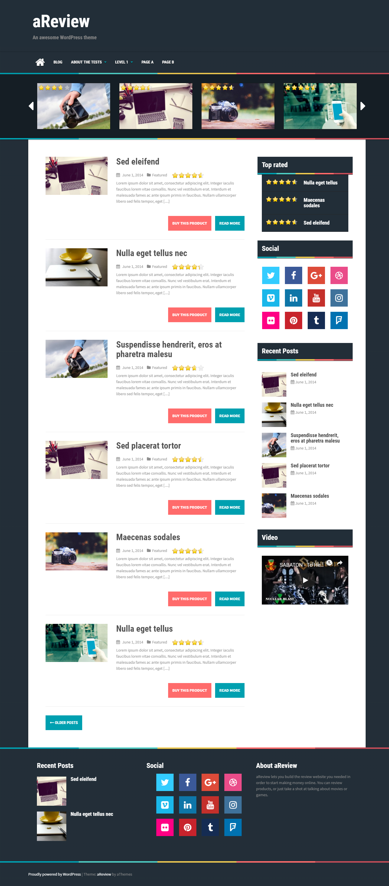 aReview - El mejor tema de WordPress de revisión gratuita