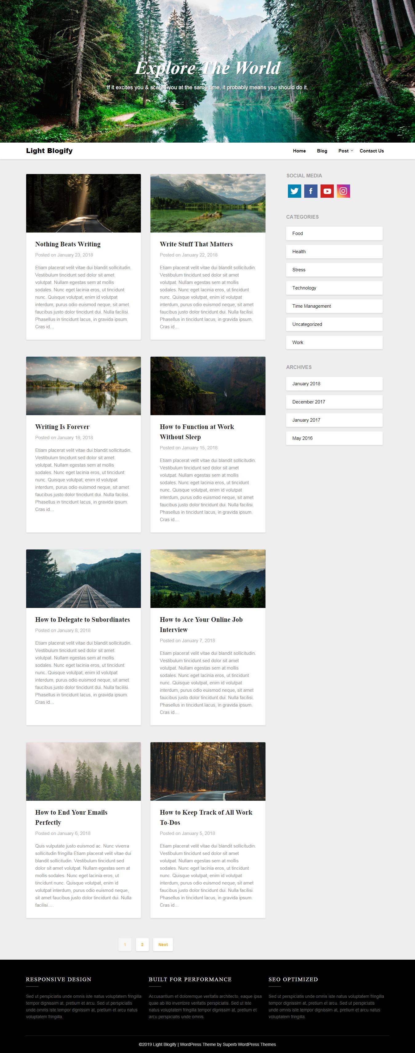 Light Blogify - El mejor tema de WordPress de revisión gratuita