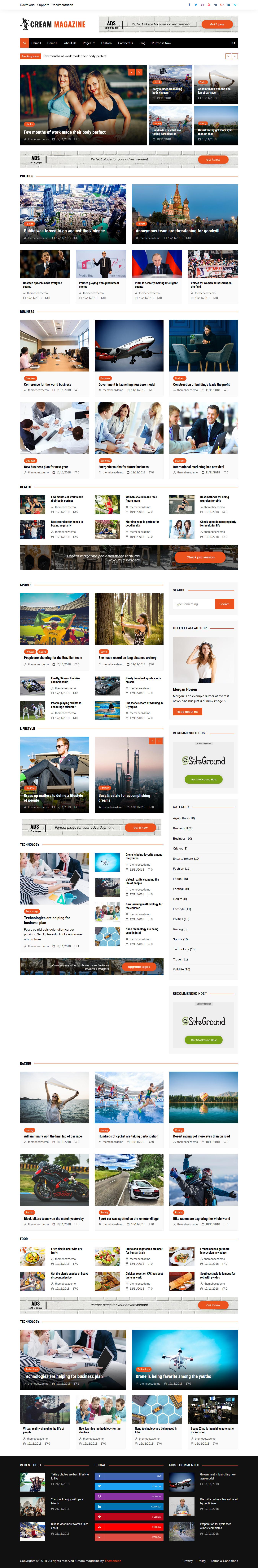 Cream Magazine - Mejor tema de WordPress de revisión gratuita