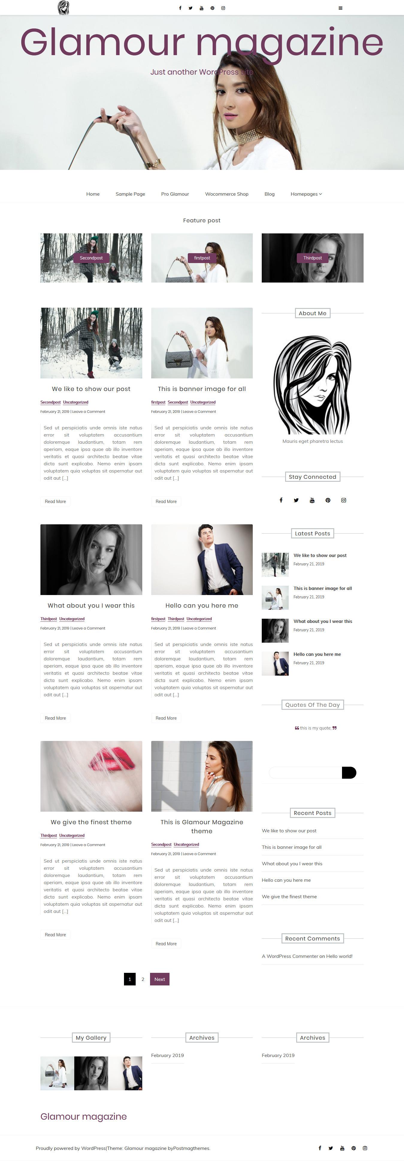 Revista Glamour - Mejor tema de WordPress de revisión gratuita