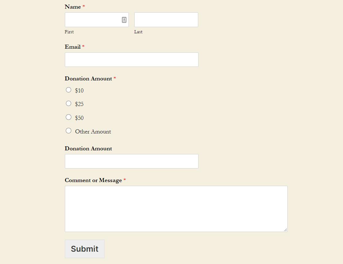 formulario de donación wordpress terminado