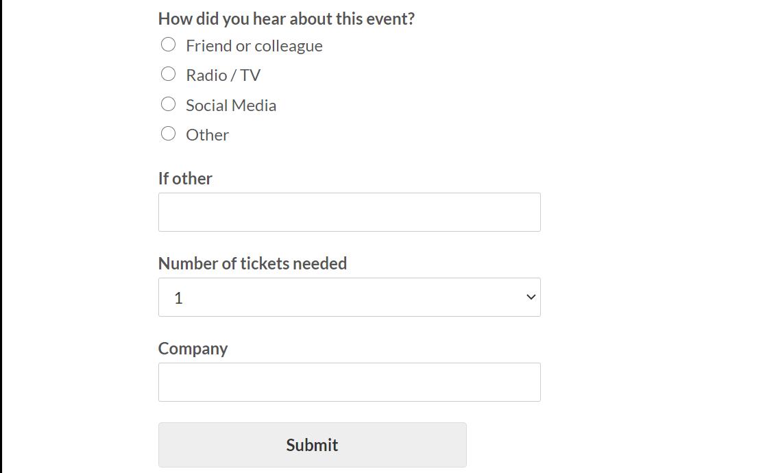 formulario de registro de eventos wpforms sin fines de lucro