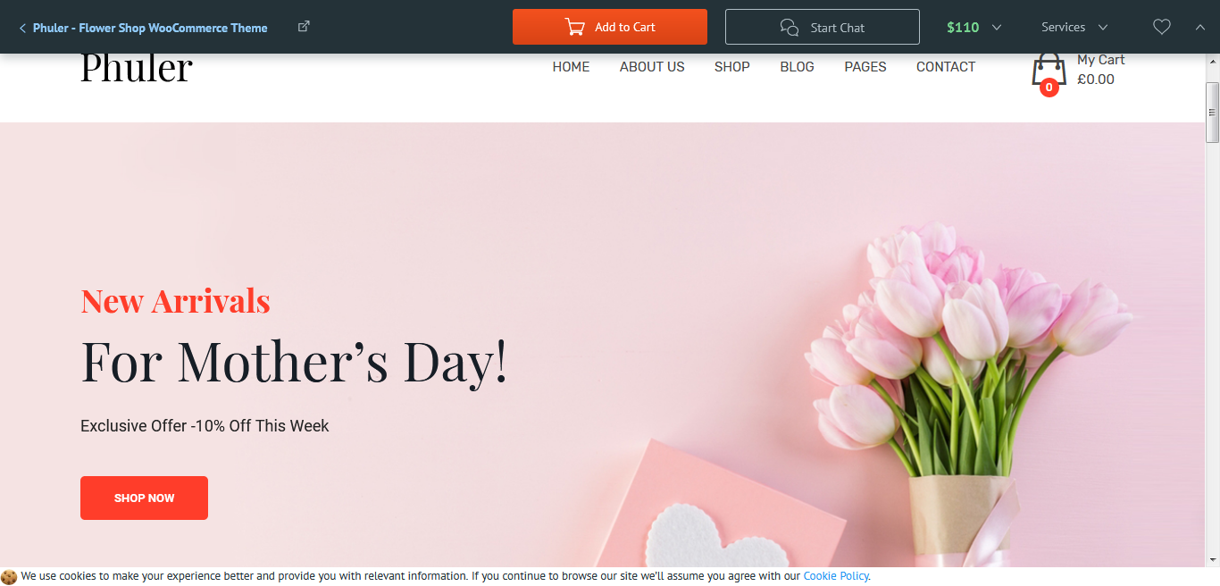 Phuler - Tema WooCommerce de Flower Shop