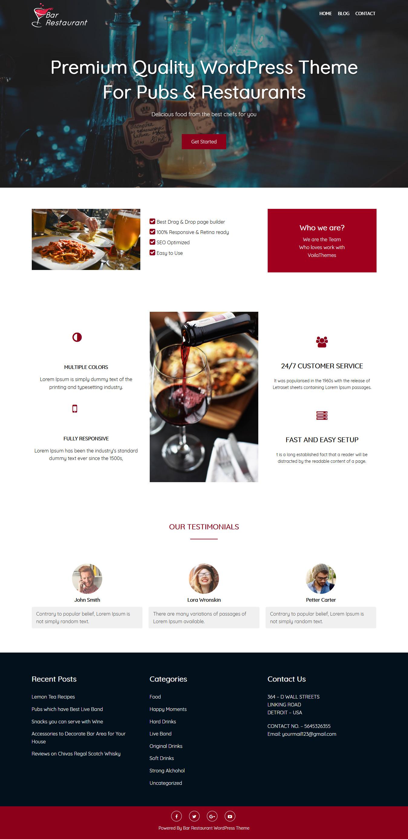 Bar Restaurant: el mejor tema de WordPress gratuito para bares y pubs