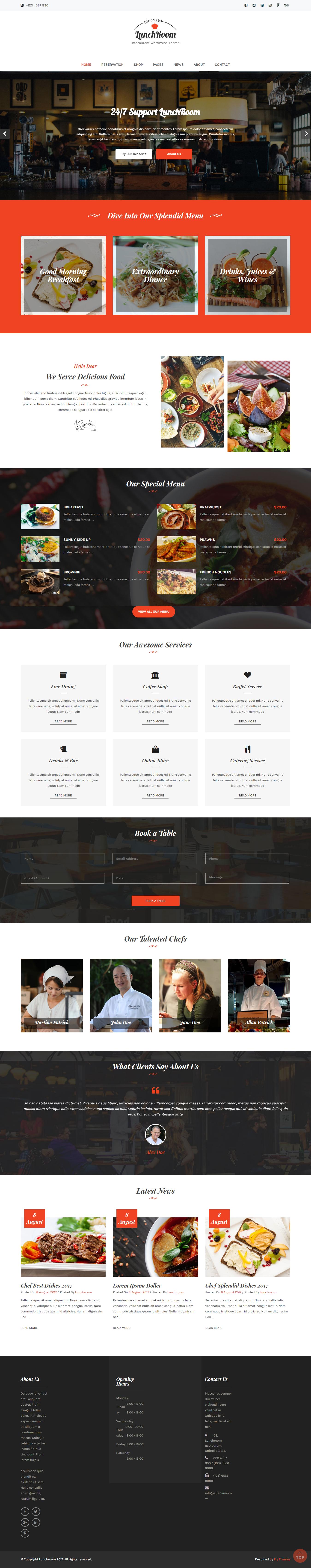 Lunchroom: el mejor tema gratuito de WordPress para bares y pubs