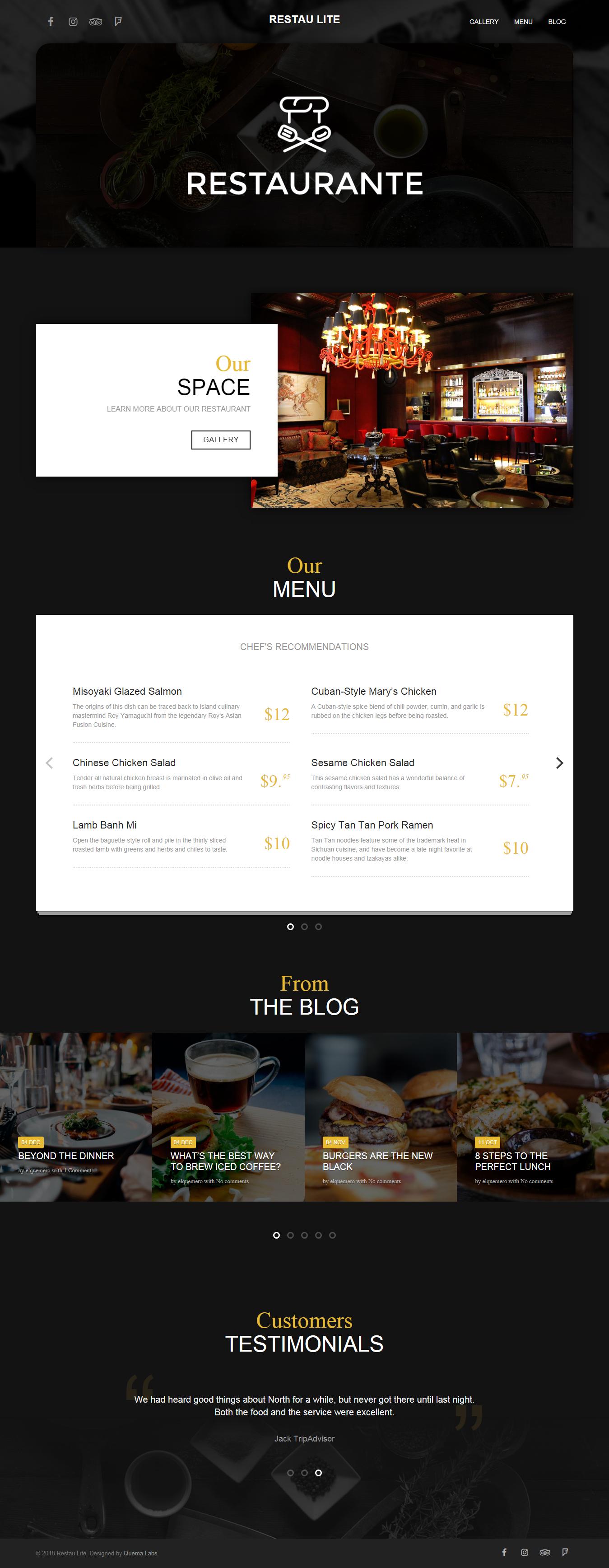 Restau Lite - El mejor tema de WordPress para bares y pubs gratuitos