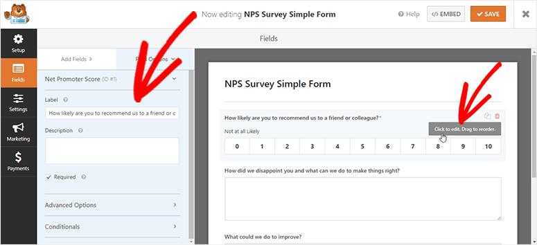 Opciones de campo de formulario de encuesta