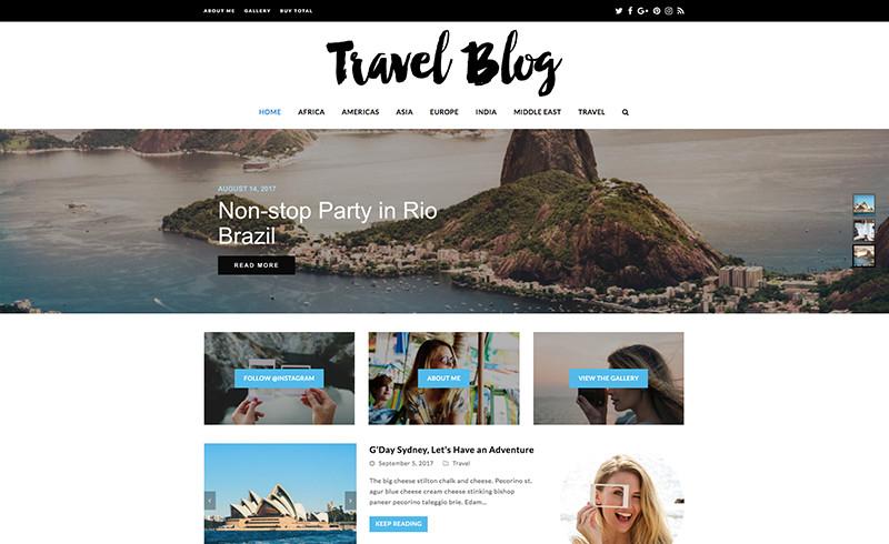 Total WordPress Theme (demostración de blog de viajes)