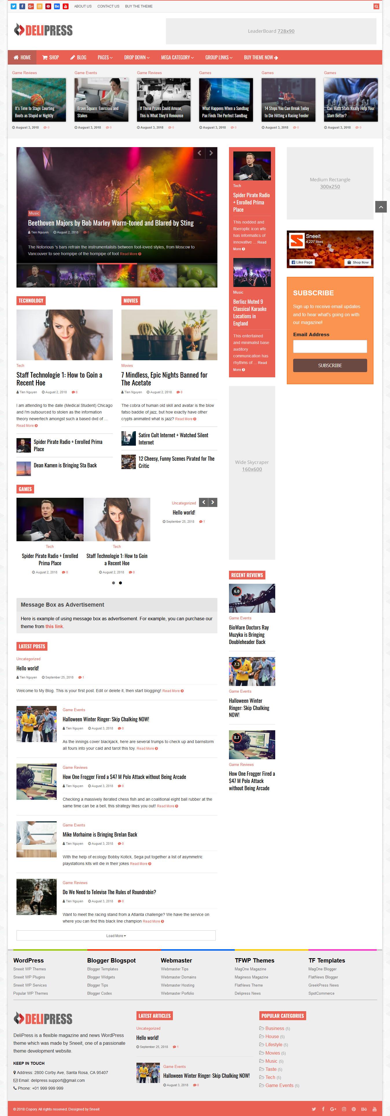 DeliPress-Revista y revisión del tema de WordPress