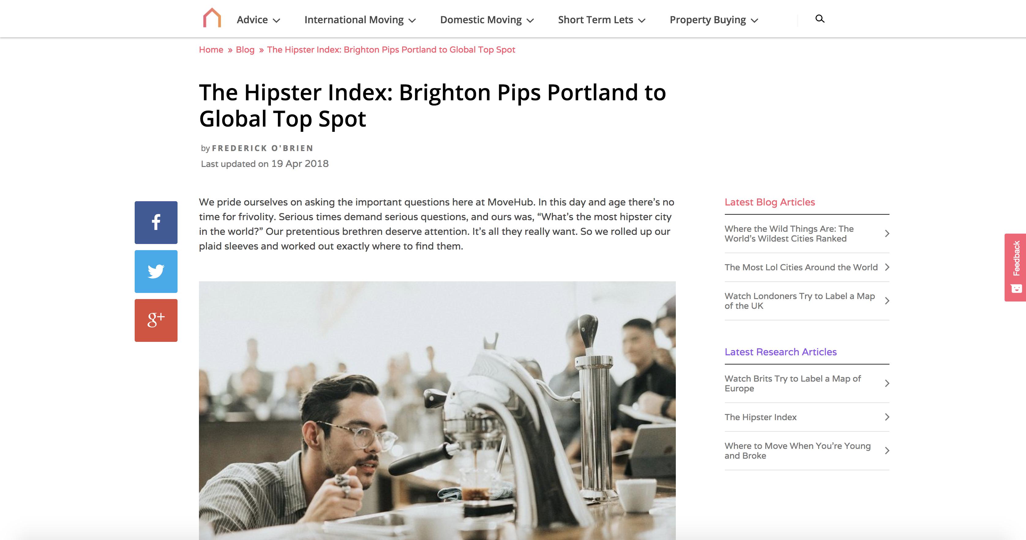 Ejemplo del índice hipster de Movehub