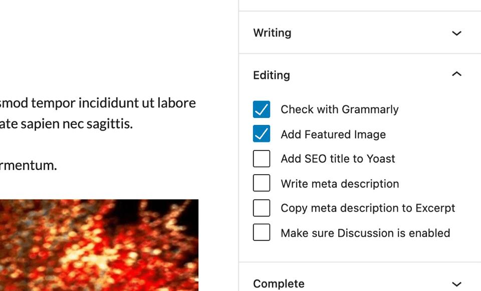 Lista de verificación pequeña