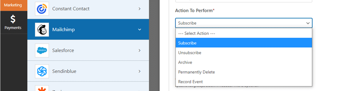 wpforms acciones disponibles del complemento mailchimp