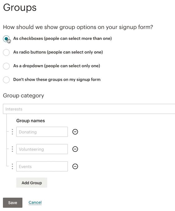grupos de mailchimp