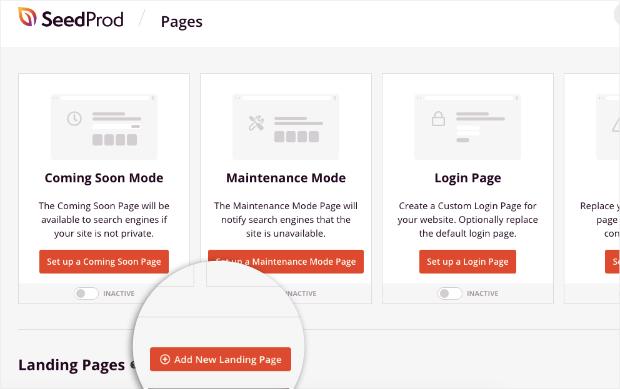 agregar nueva página de destino para seedprod