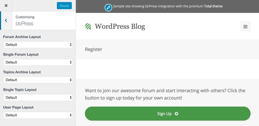 Opciones del personalizador de bbPress Live