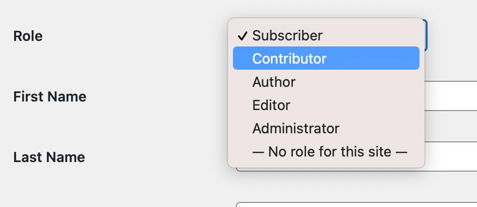 Seleccionar función de colaborador